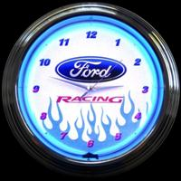"Ford Racing Neon Clock 15"" – Guaranteed bright and brilliant neon color! Quality neon clocks and neon wall clocks for less. Full 1-5 year no hassle warranty."