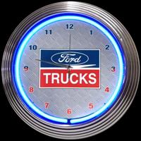 "Ford Trucks Neon Clock 15"" – Guaranteed bright and brilliant neon color! Quality neon clocks and neon wall clocks for less. Full 1-5 year no hassle warranty."
