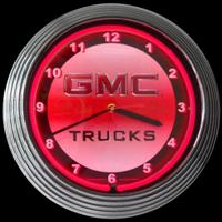 "GMC Trucks Neon Clock 14.5"" – Guaranteed bright and brilliant neon color! Quality neon clocks and neon wall clocks for less. Full 1-5 year no hassle warranty."