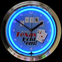 "Texas Hold 'Em Neon Clock 14.5"" – Guaranteed bright and brilliant neon color! Quality neon clocks and neon wall clocks for less. Full 1-5 year no hassle warranty."