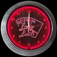 "Lady Luck Neon Clock 14.5"" – Guaranteed bright and brilliant neon color! Quality neon clocks and neon wall clocks for less. Full 1-5 year no hassle warranty."