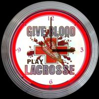 "Give Blood Play Lacrosse Clock 15"" – Guaranteed bright and brilliant neon color! Quality neon clocks and neon wall clocks for less. Full 1-5 year no hassle warranty."