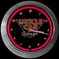 "Muscle Car Garage Neon Clock 15"" – Guaranteed bright and brilliant neon color! Quality Americana neon wall clocks for less. Full 1-5 year no hassle warranty."