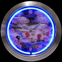 "Pinball Neon Clock 14.5"" – Guaranteed bright and brilliant neon color! Quality neon clocks and neon wall clocks for less. Full 1-5 year no hassle warranty."