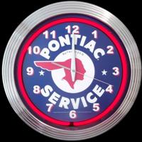 "Pontiac Service Neon Clock 14.5"" – Guaranteed bright and brilliant neon color! Quality neon clocks and neon wall clocks for less. Full 1-5 year no hassle warranty."