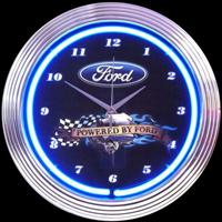 "Powered By Ford Neon Clock 15"" – Guaranteed bright and brilliant neon color! Quality Americana neon wall clocks for less. Full 1-5 year no hassle warranty."
