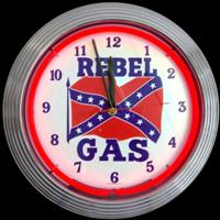 "Rebel Gas Neon Clock 14.5"" – Guaranteed bright and brilliant neon color! Quality neon clocks and neon wall clocks for less. Full 1-5 year no hassle warranty."
