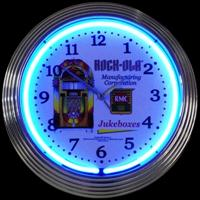 "Rock Ola Blue Neon Clock 14.5"" – Guaranteed bright and brilliant neon color! Quality neon clocks and neon wall clocks for less. Full 1-5 year no hassle warranty."