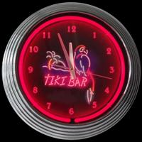 "Tiki Bar Neon Clock 14.5"" – Guaranteed bright and brilliant neon color! Quality neon clocks and neon wall clocks for less. Full 1-5 year no hassle warranty."