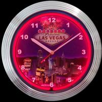 "Las Vegas Strip Neon Clock 15"" – Guaranteed bright and brilliant neon color! Quality neon clocks and neon wall clocks for less. Full 1-5 year no hassle warranty."