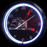 "Corvette C6 Black Neon Clock 20"" – Guaranteed bright and brilliant neon color! Quality neon clocks and neon wall clocks for less. Full 1-5 year no hassle warranty."