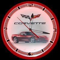 "Corvette C6 Red Neon Clock 20"" – Guaranteed bright and brilliant neon color! Quality neon clocks and neon wall clocks for less. Full 1-5 year no hassle warranty."